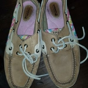 Sperry Pink Plaid Boat Shoes